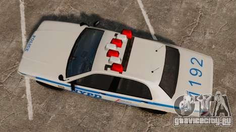 GTA V Police Vapid Cruiser NYPD для GTA 4 вид справа