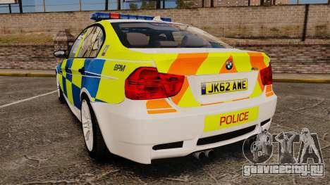 BMW M3 British Police [ELS] для GTA 4 вид сзади слева