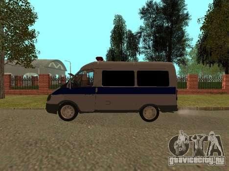 ГАЗ Соболь Полиция для GTA San Andreas вид сзади слева