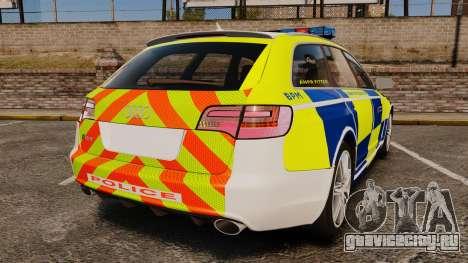 Audi RS6 Avant Metropolitan Police [ELS] для GTA 4 вид сзади слева