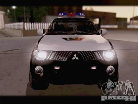 Mitsubishi L200 POLICIA для GTA San Andreas вид справа