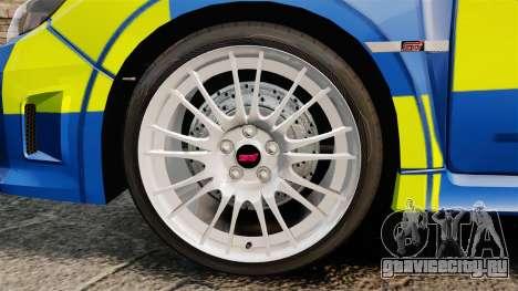 Subaru Impreza WRX STI 2011 Police [ELS] для GTA 4 вид сзади