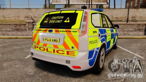 Ford Focus Estate Metropolitan Police [ELS] для GTA 4 вид сзади слева