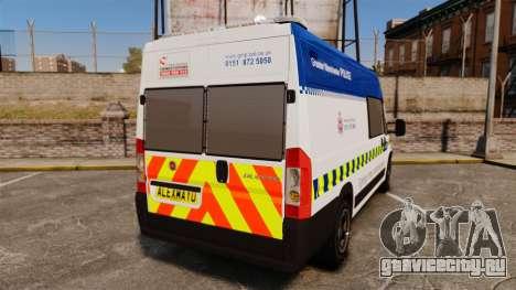 Fiat Ducato Manchester Police [ELS] для GTA 4 вид сзади слева