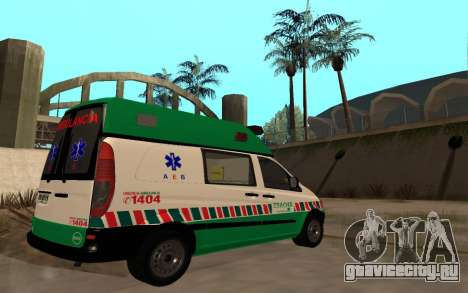 Mercedes-Benz Vito Ambulancia ACHS 2012 для GTA San Andreas вид сзади