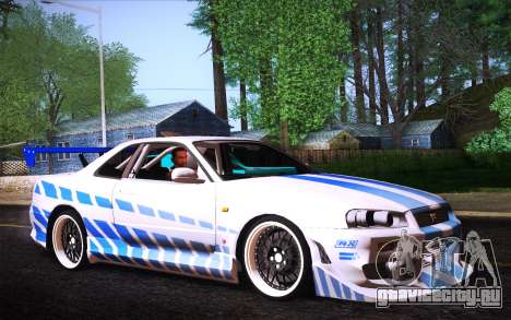 Nissan Skyline R34 FnF для GTA San Andreas вид слева