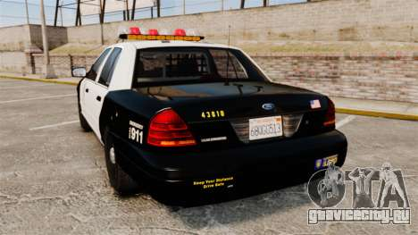 Ford Crown Victoria 1999 LAPD & GTA V LSPD для GTA 4 вид сзади слева
