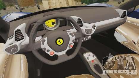 Ferrari 458 Italia Liberty Walk для GTA 4 вид изнутри