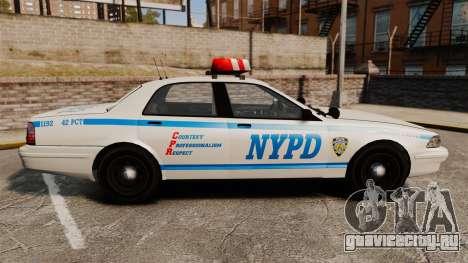 GTA V Police Vapid Cruiser NYPD для GTA 4 вид слева