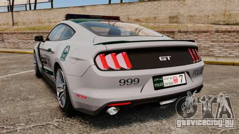 Ford Mustang GT 2015 Police для GTA 4 вид сзади слева