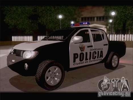 Mitsubishi L200 POLICIA для GTA San Andreas вид сзади слева