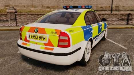 Skoda Superb 2006 Police [ELS] Whelen Edge для GTA 4 вид сзади слева