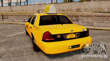 Ford Crown Victoria 1999 NYC Taxi v1.1 для GTA 4 вид сзади слева