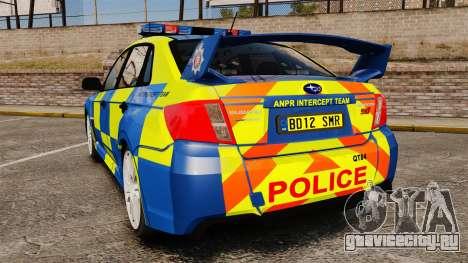 Subaru Impreza WRX STI 2011 Police [ELS] для GTA 4 вид сзади слева