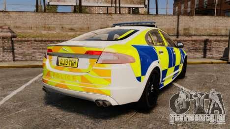 Jaguar XFR 2010 Police Marked [ELS] для GTA 4 вид сзади слева