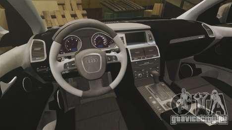 Audi Q7 Unmarked Police [ELS] для GTA 4 вид изнутри