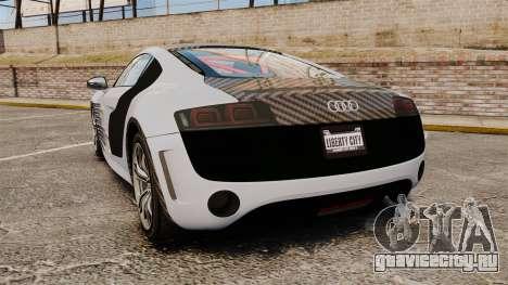 Audi R8 GT Coupe 2011 Drift для GTA 4 вид сзади слева