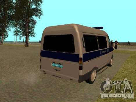 ГАЗ Соболь Полиция для GTA San Andreas вид справа