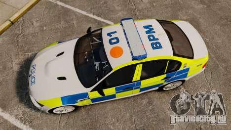 BMW M3 British Police [ELS] для GTA 4 вид справа