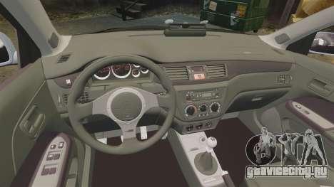 Mitsubishi Lancer Unmarked Police [ELS] для GTA 4 вид изнутри