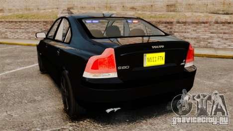 Volvo S60R Unmarked Police [ELS] для GTA 4 вид сзади слева