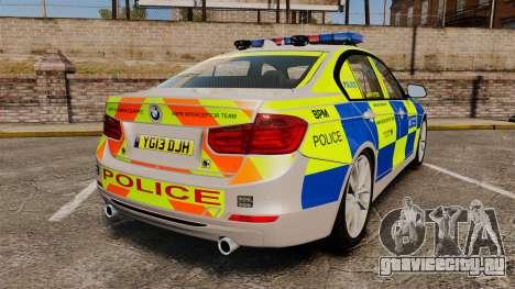BMW F30 328i Metropolitan Police [ELS] для GTA 4 вид сзади слева