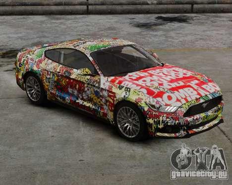 Ford Mustang GT 2015 Sticker Bombed для GTA 4 вид сзади слева