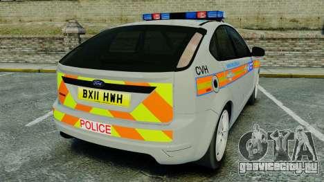 Ford Focus Metropolitan Police [ELS] для GTA 4 вид сзади слева