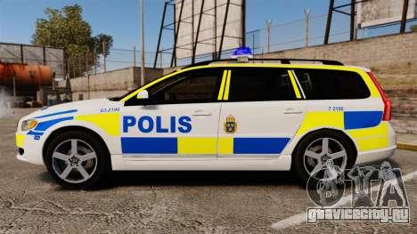 Volvo V70 II Swedish Police [ELS] для GTA 4 вид слева
