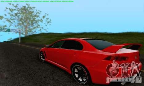 Mitsubishi Lancer X Evolution для GTA San Andreas двигатель