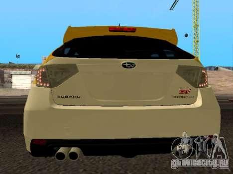 Subaru Impreza STi для GTA San Andreas вид сзади слева