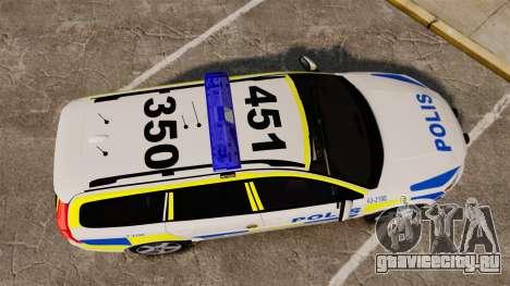 Volvo V70 II Swedish Police [ELS] для GTA 4 вид справа