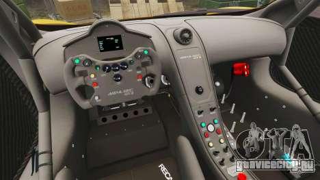 McLaren MP4-12C GT3 для GTA 4 вид изнутри