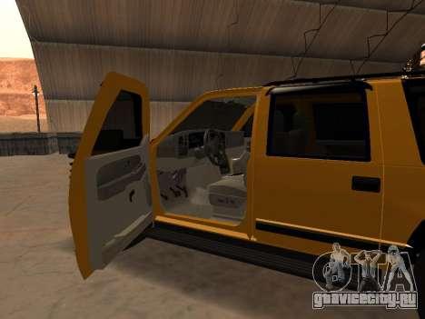 GMC Yukon для GTA San Andreas вид изнутри