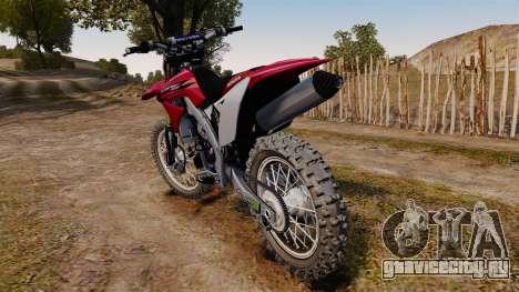 Kawasaki KX250F (Honda) для GTA 4 вид сзади слева