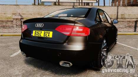 Audi S4 Unmarked Police [ELS] для GTA 4 вид сзади слева