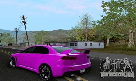 Mitsubishi Lancer X Evolution для GTA San Andreas вид сбоку