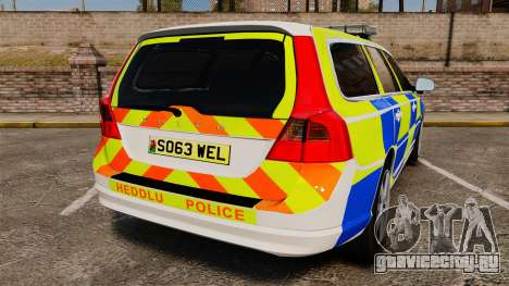 Volvo V70 South Wales Police [ELS] для GTA 4 вид сзади слева