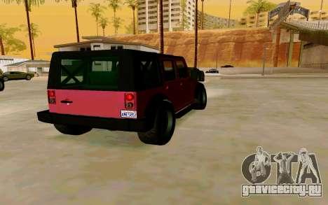 GTA V Mesa для GTA San Andreas вид сзади слева