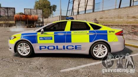 Ford Mondeo 2014 Metropolitan Police [ELS] для GTA 4 вид слева