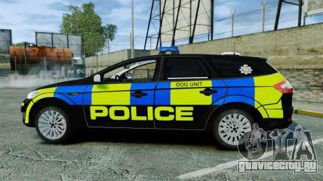 Ford Mondeo Estate Police Dog Unit [ELS] для GTA 4 вид слева