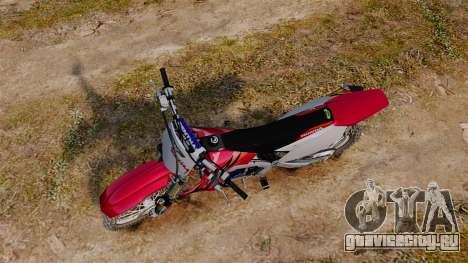 Kawasaki KX250F (Honda) для GTA 4 вид справа