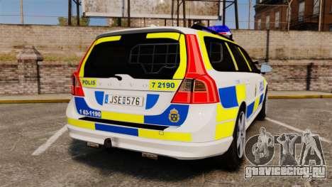Volvo V70 II Swedish Police [ELS] для GTA 4 вид сзади слева
