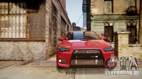 Mitsubishi Lancer Evolution X 2009 v1.3 для GTA 4 вид справа