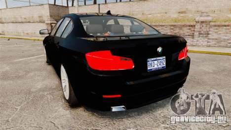 BMW M5 F10 2012 Unmarked Police [ELS] для GTA 4 вид сзади слева