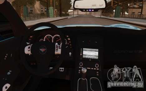 Chevrolet Corvette Grand Sport 2010 для GTA 4 вид изнутри