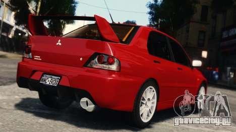 Mitsubishi Lancer Evolution IX для GTA 4 вид сзади