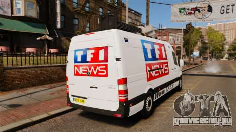 Mercedes-Benz Sprinter TF1 News [ELS] для GTA 4 вид сзади слева