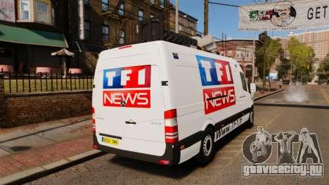 Mercedes-Benz Sprinter TF1 News [ELS] для GTA 4 вид сзади слева