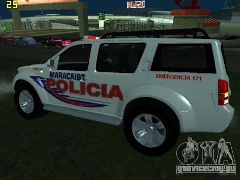 Nissan Pathfinder Polimaracaibo для GTA San Andreas вид сзади слева